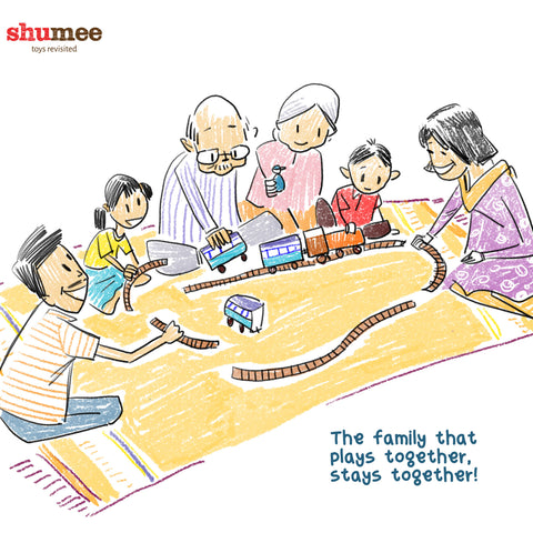 Playing toys with the family together - Shumee Educational Toys for Kids