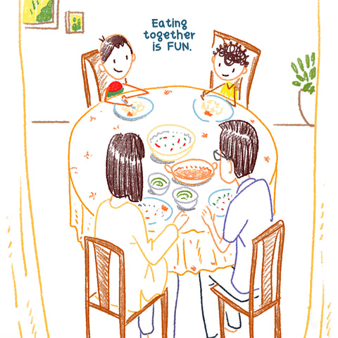 Eating together with children is fun