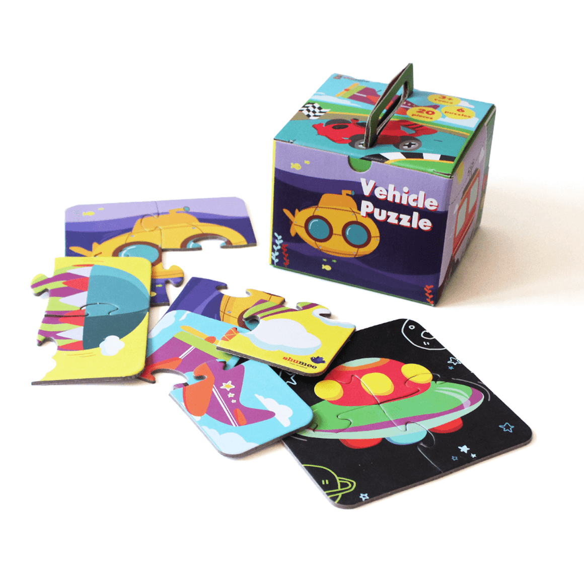 Vehicle puzzle - set of 6 puzzles