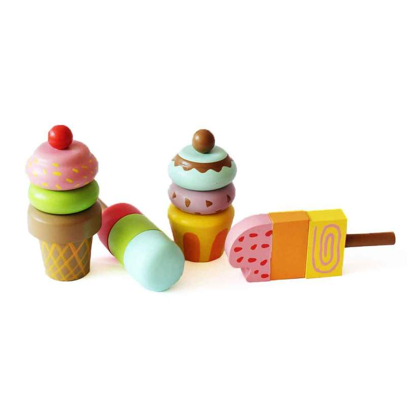 Wooden Pretend Ice Cream Toy Set (Magnetic) for Kids - Shumee