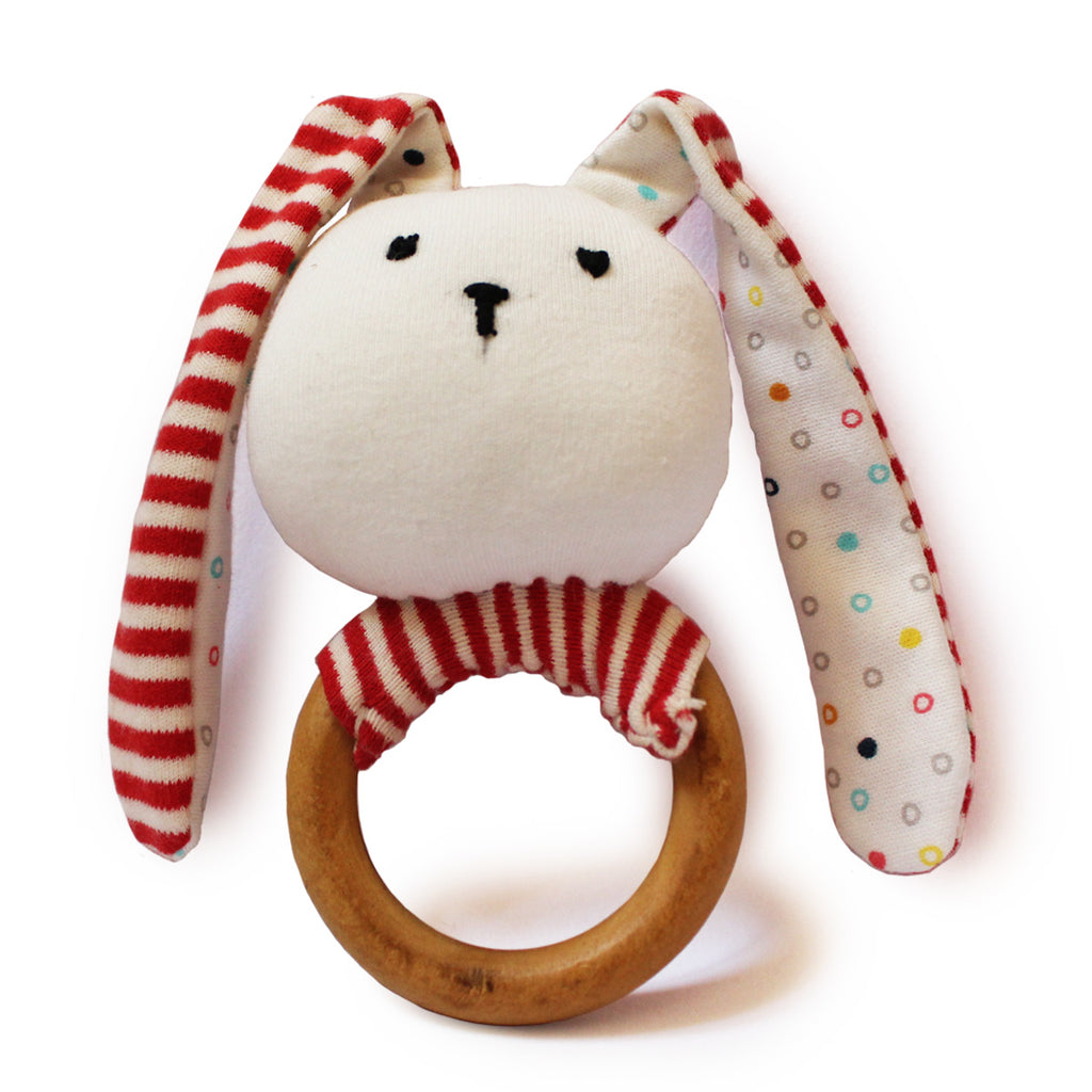 Striped Bunny Teether and Rattle Ring