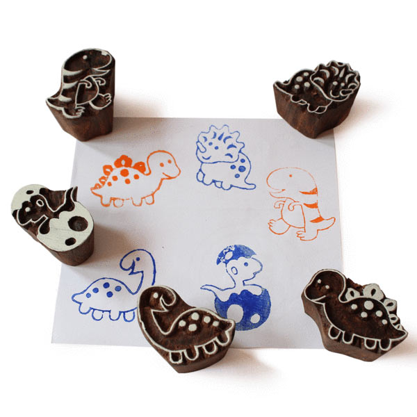 Little Dino Wooden Stamps Set