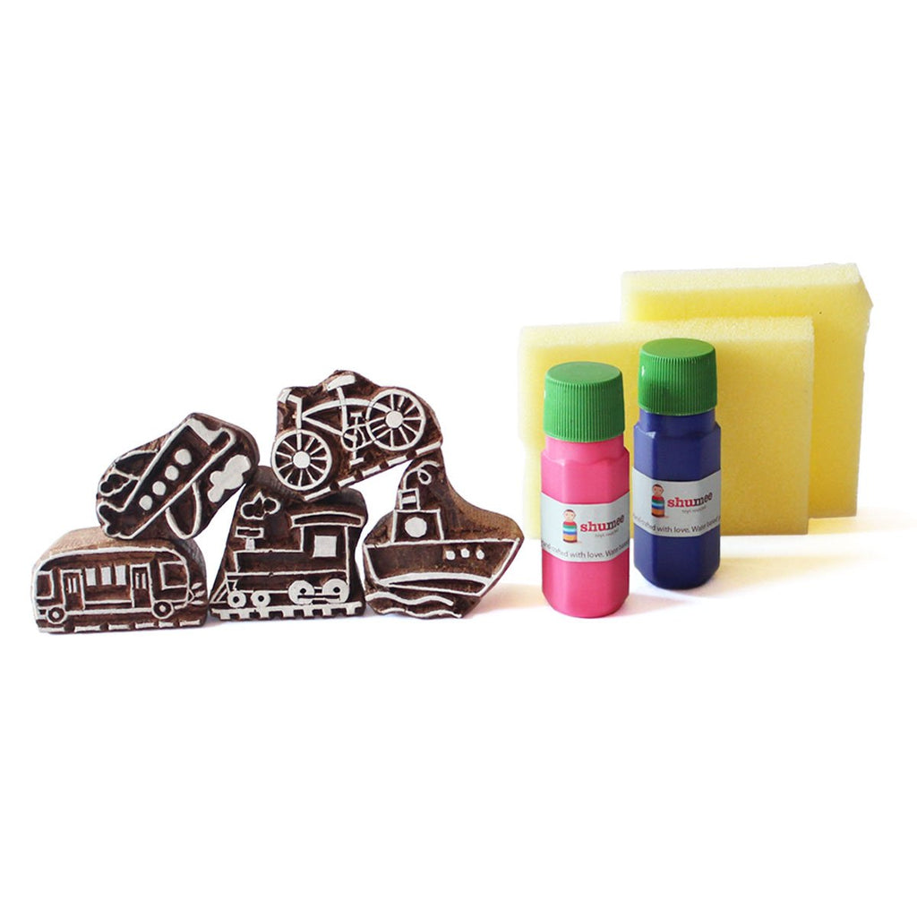 Modes of Transport Wooden Stamps Set