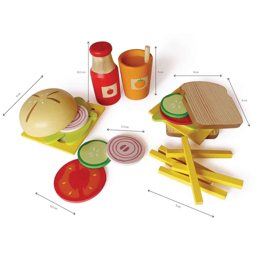 Sandwich and Burger Wooden Set