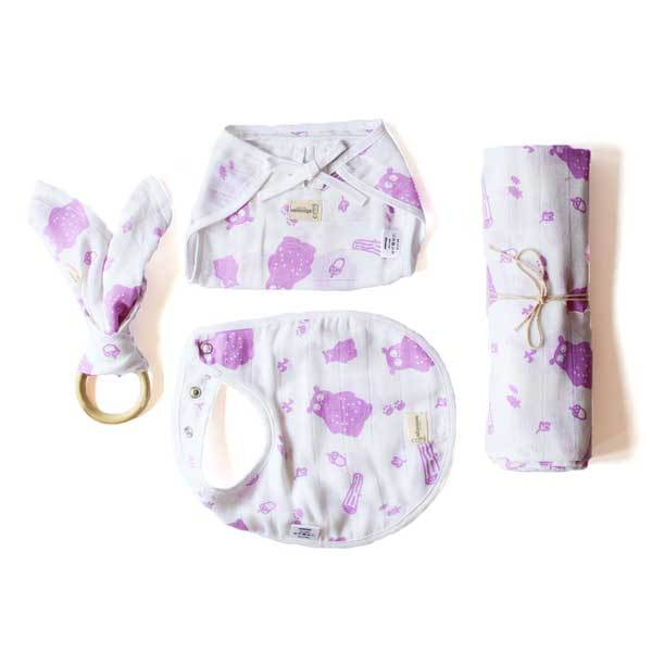 Organic Baby Essentials Set - Purple Bear | Free Shipping - Shumee