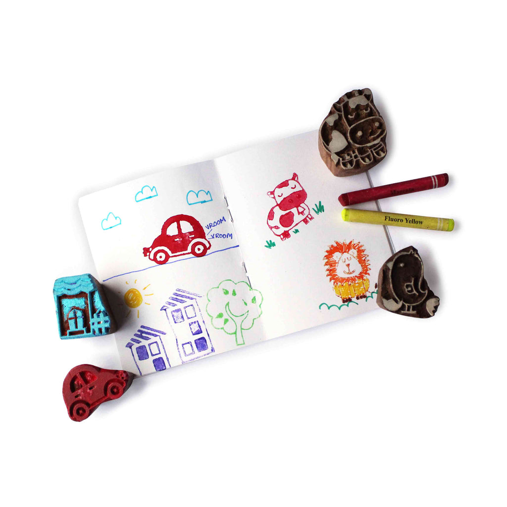 City Life Wooden Stamps Set