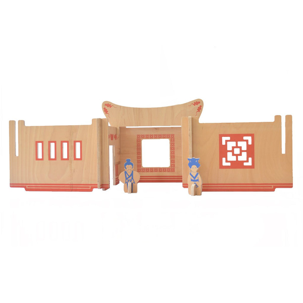 Stackable mandarin wooden doll house
