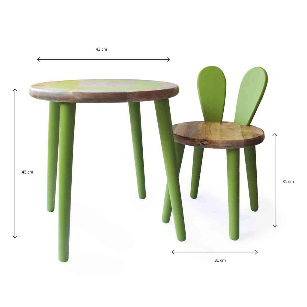 Bunny Table and Chair Set- Green