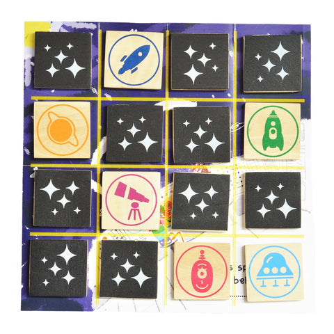 Match Squares - space Wooden Memory Game