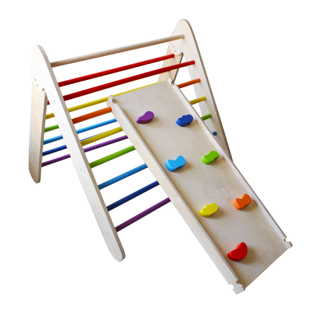 Wooden Rainbow Pikler Triangle + Slider and Climber