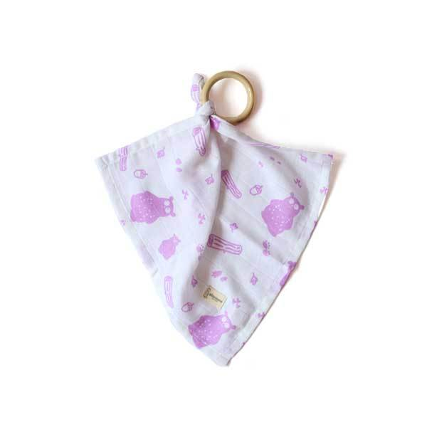 Organic Cotton Muslin Teether - Bear | Free Shipping - Shumee