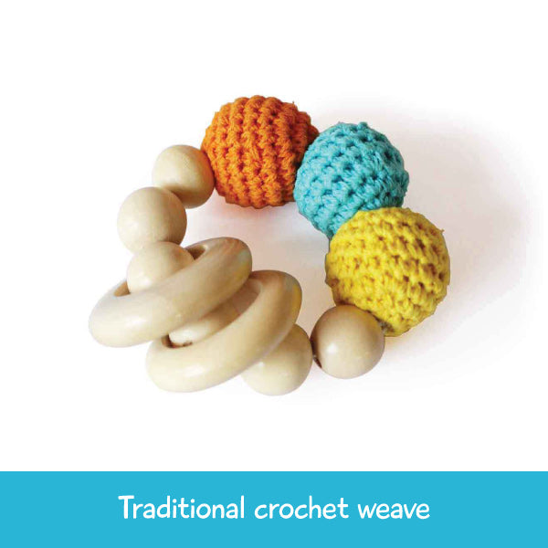 Wooden Crochet Teether and Rattle Ring