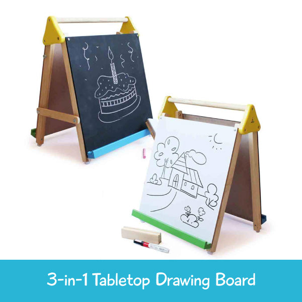 Wooden Table-Top 3-in-1 drawing Board