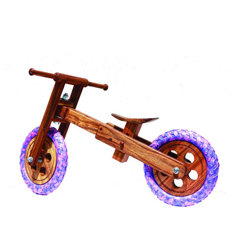 Eco Friendly Wooden Balance Bike Blue Pink