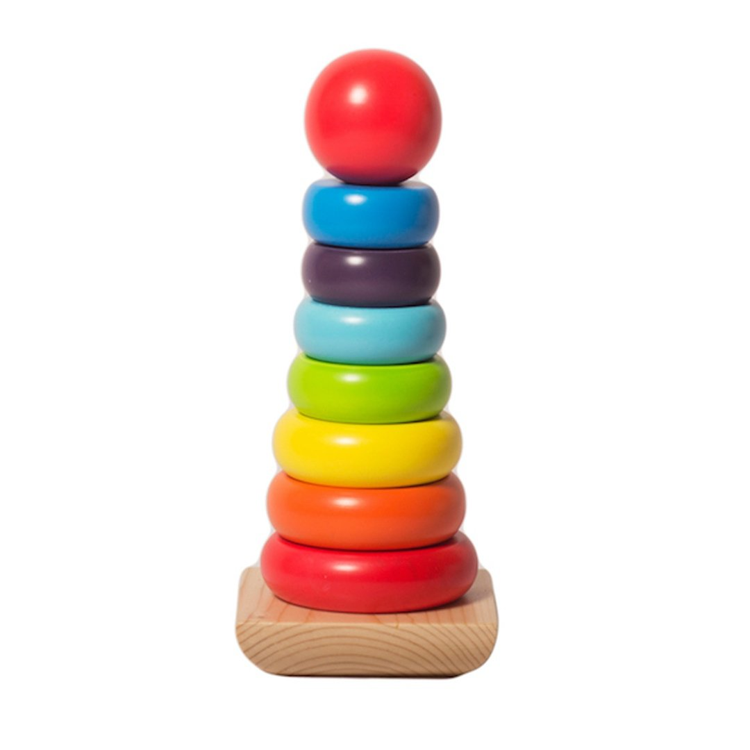 Rainbow Wooden Stacking Rings Toy | Free Shipping - Shumee