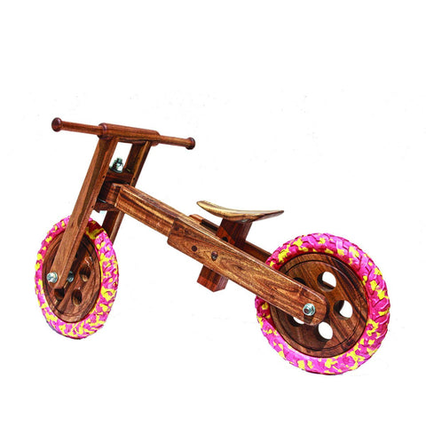 Safe Natural Wooden Balance Bike Red Yellow