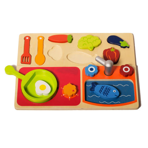 Wooden Kitchen Pretend Set