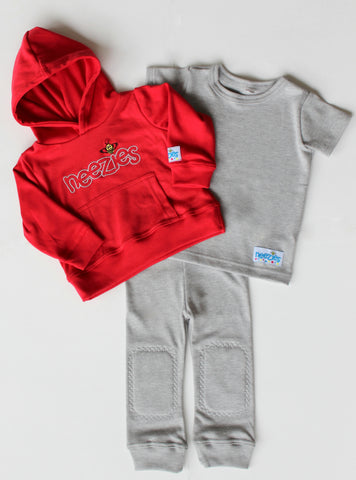 Neezies three-piece set (red and grey)
