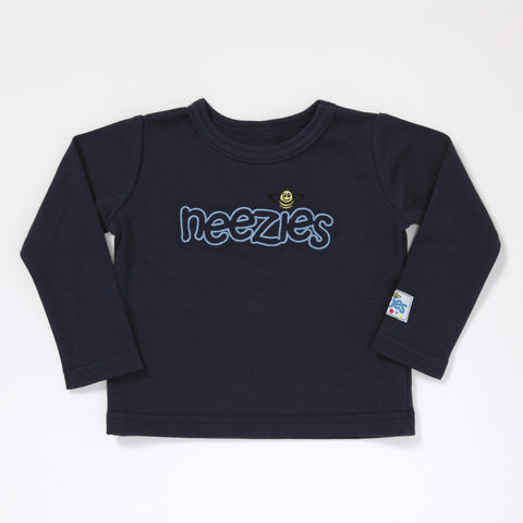 Little Man Long Sleeve T (navy with periwinkle logo)