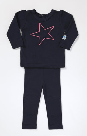 Little Miss Long Sleeve T (navy with magenta star)