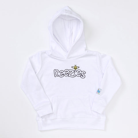 Neezies Hoodie (white with navy logo)