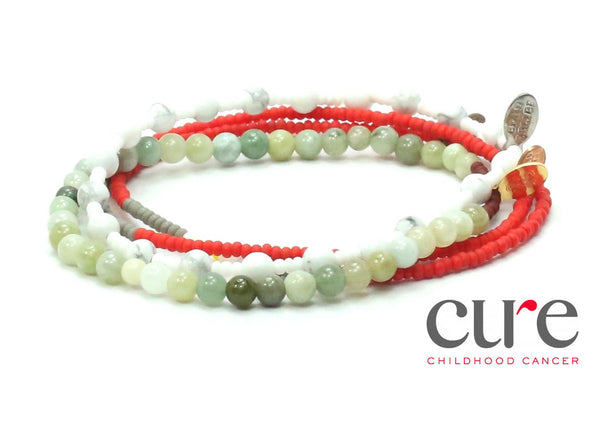 CURE Childhood Cancer Bracelet Combo Stack - Bead Relief