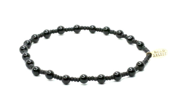 The Young and Brave Black Onyx + Black Seed Natural Stone Bracelet - Bead Relief