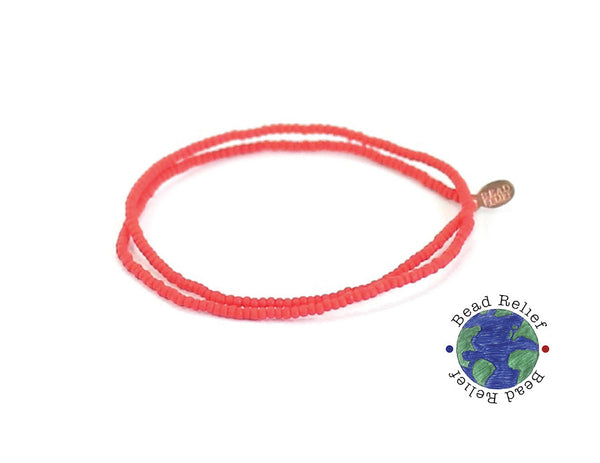 Red Seed Bead Choker - Bead Relief