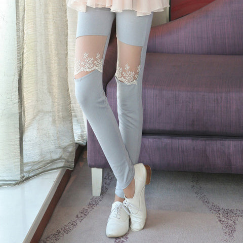 Women Legging with Lace Knee Patch