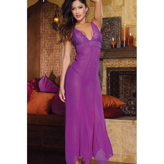 Purple Ankle-length Chiffon Gown