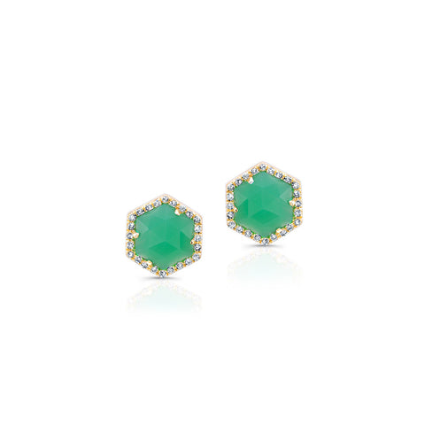 Chrysoprase Diamond Hexagon Stud Earrings