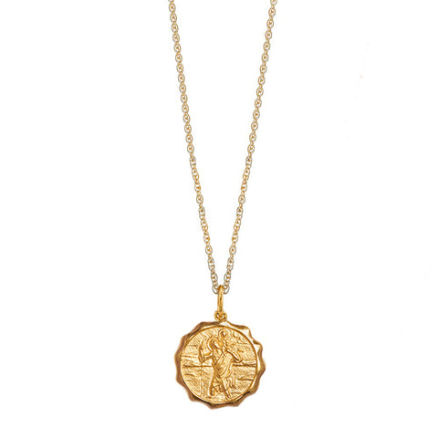 14K Gold Saint Christopher Charm Necklace