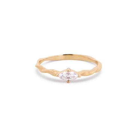 Marquise Moissanite Stackable Twist Ring
