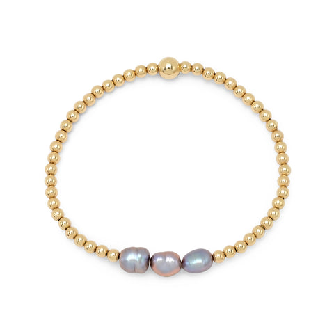 Black Pearl Gold Beaded Bracelet