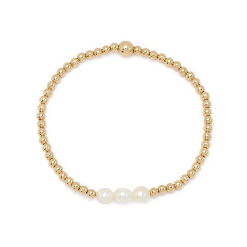 White Pearl Gold Beaded Bracelet