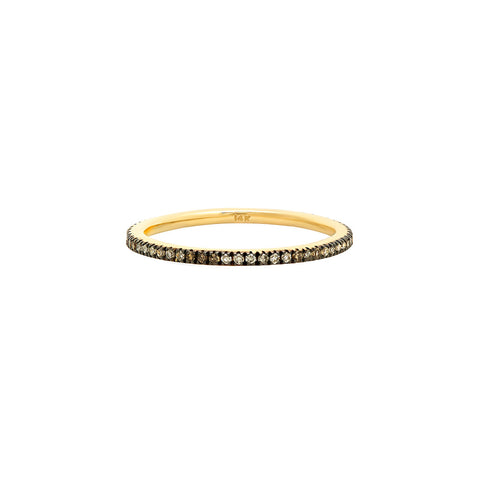 Champagne, White and Cognac Diamond Stackable Ring - Infinity Band