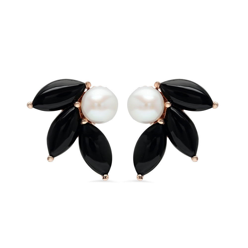 Pearl And Black Coral Earrings Iconery