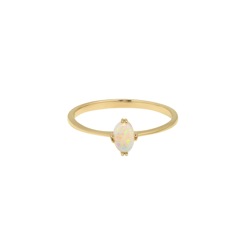stacking handmade simple ring opal silver gold gemstone scottish scotland in petite and