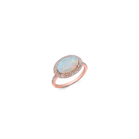 Double Halo Opal Ring