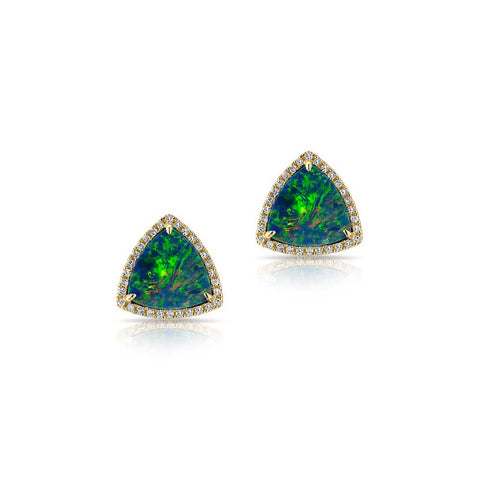 Opal Rounded Triangle Stud Earrings