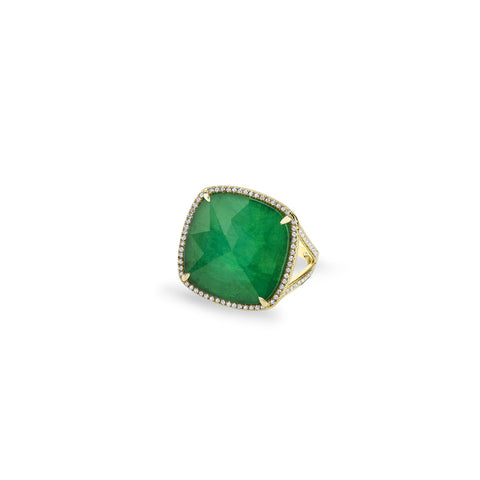Emerald Cushion Cut Ring