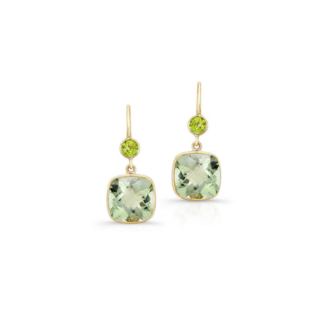 Green Amethyst and Peridot Earrings