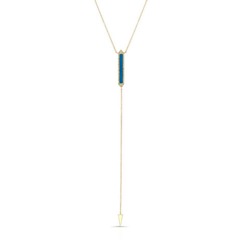 Diamond Turquoise Bar Lariat Necklace
