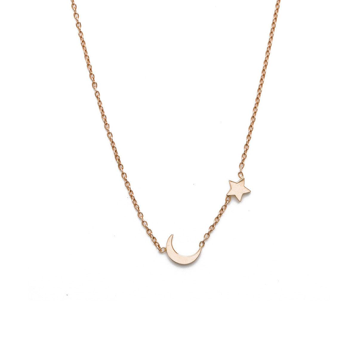 Lena wald 14k gold or silver moon and star necklace iconery moon and star necklace aloadofball Choice Image