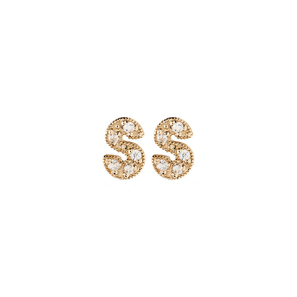 Lena Wald 14K Gold or Silver Diamond Letter Earring - ICONERY