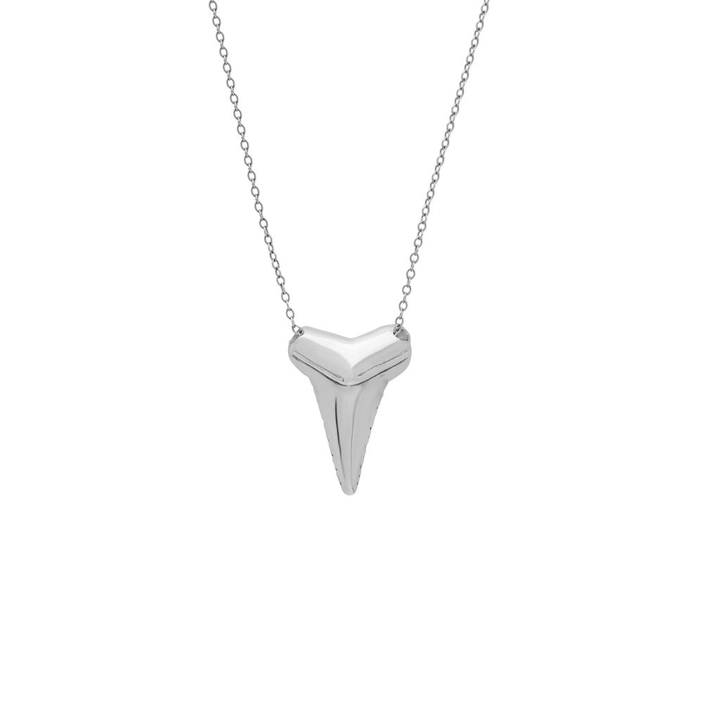 dipped shark pendant serrated tooth gold