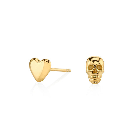 Mismatched Skull and Heart Stud Earrings