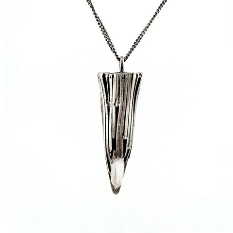 Beacan Silver Pendant Necklace Quartz Stone