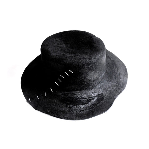 Distressed Stapled Fedora Hat