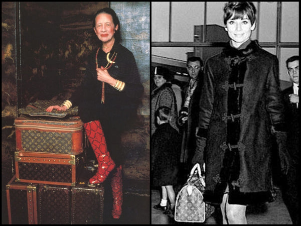 Diana Vreeland and Audrey Hepburn with their Vuitton.